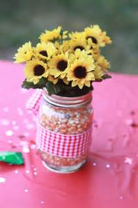 jar party favors centerpiece for farm themed birthday party