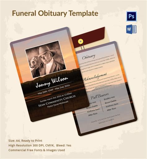 sample funeral obituary template  documents   psd word