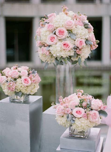 pink rose white hydrangea  dusty miller arrangements