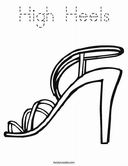 Coloring Heels Shoe Heel Shoes Template Pages