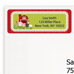 farm animals birthday party return address labels With farm address labels