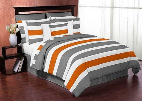 Gray & Orange Stripe Comforter Set