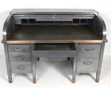 bankers desk for sale 1930s banker 39 s metal roll top industrial desk for sale at
