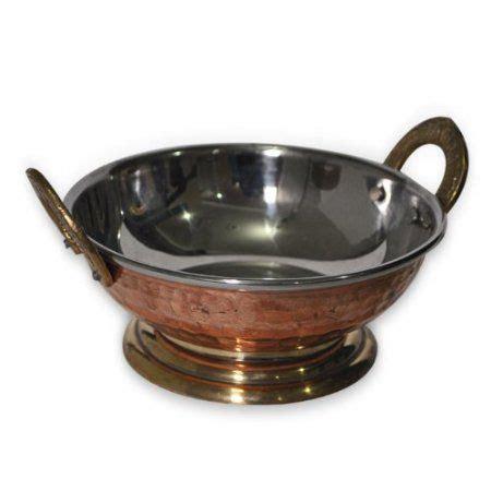 amazoncom indian copperware serving karahi handmade tableware pan  stand home kitchen