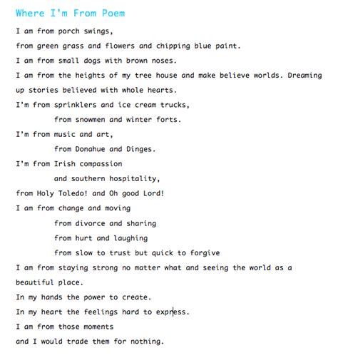 where i m from poem template my where i m from poem quotes poem school and language arts