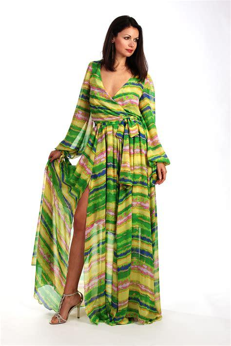 Womens Maxi Chiffon Multi Green Stripe Dress With Sleeves