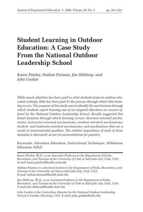 student learning  outdoor education  case study