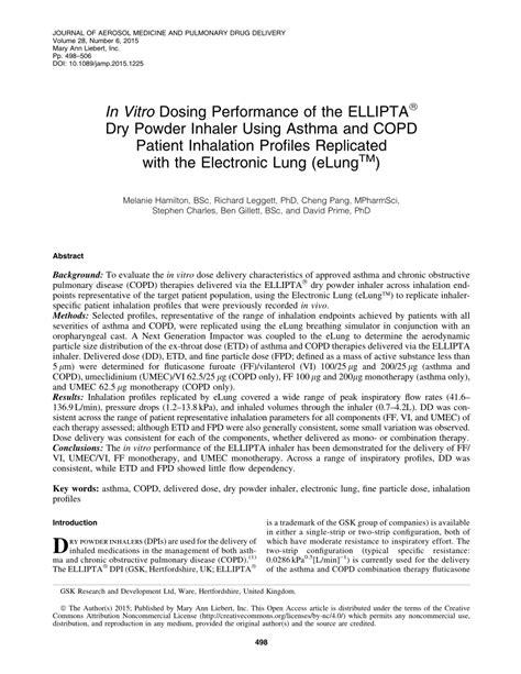 (PDF) In Vitro Dosing Performance of the ELLIPTA(®) Dry