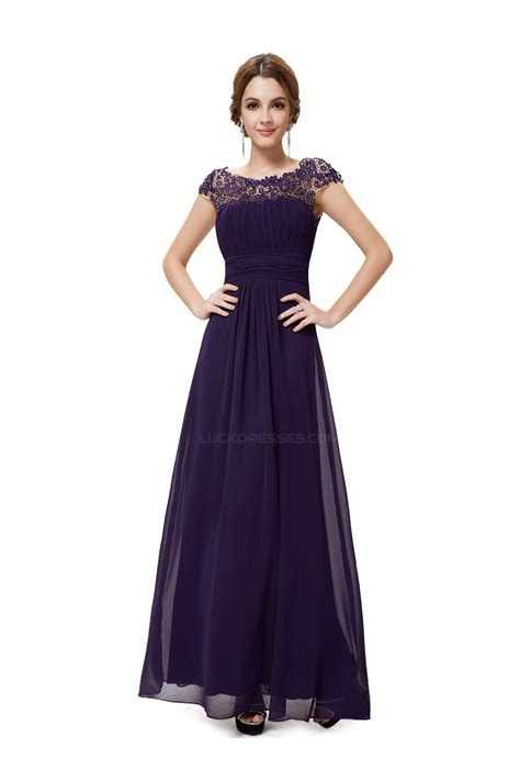 A-Line Cap-Sleeve Long Purple Chiffon Bridesmaid Dresses ...