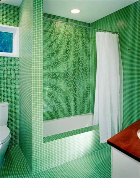 contemporary bathroom green mosaic tile idea decosee