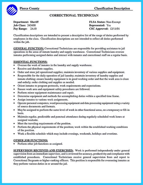 Corrections Officer Resume Skills by Correctional Officer Resume To Get Noticed