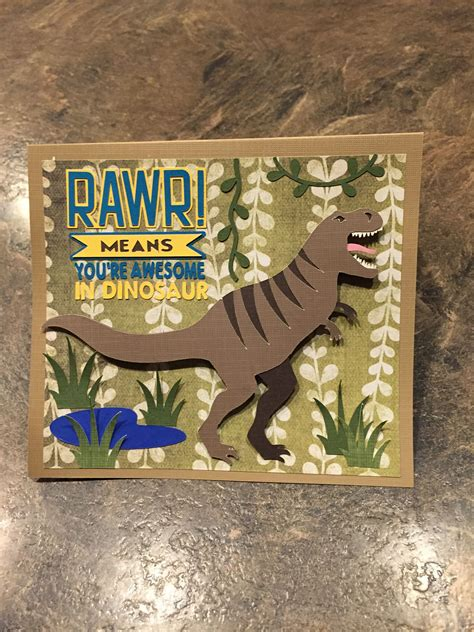 dinosaur birthday card    cricut design space