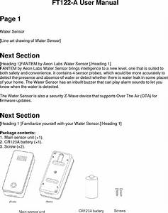 Aeon Labs Ft122 Water Sensor With Dock User Manual 15