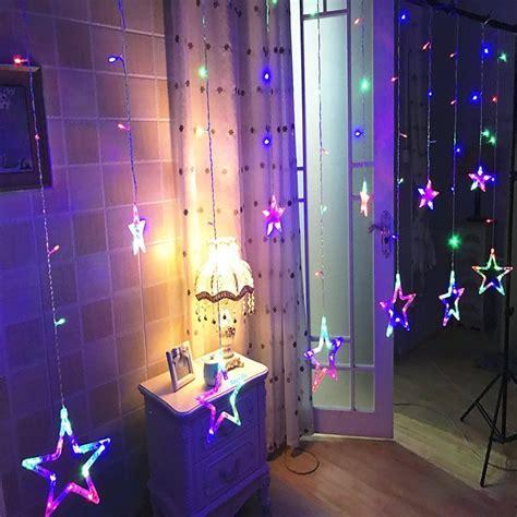 star shaped led lights string curtain window bedroom xmas
