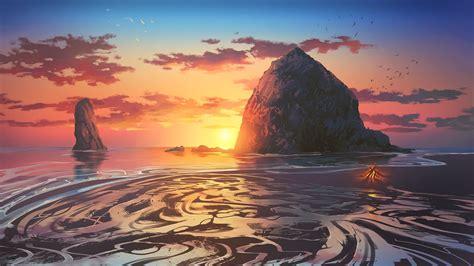 px digital art sea sunset high quality