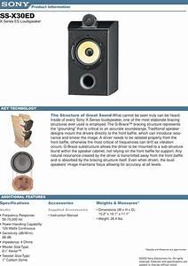 Sony Ss X30ed Speakers Info Sheets 1 User Manual Marketing