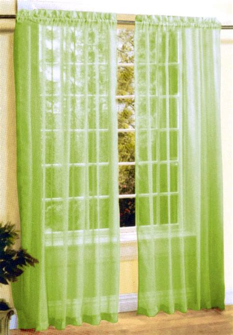 new 2 pc sheer voile window curtain panel set lime green