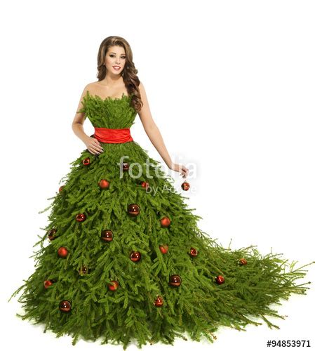 christmas tree woman dress fashion model  white