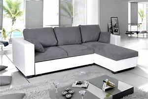 Canape Gris Et Blanc : photos canap d 39 angle convertible gris et blanc ~ Melissatoandfro.com Idées de Décoration