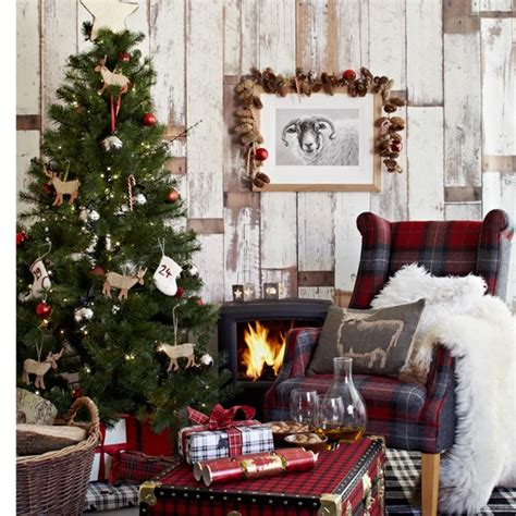 country homes and interiors christmas chalet style festive living room housetohome co uk
