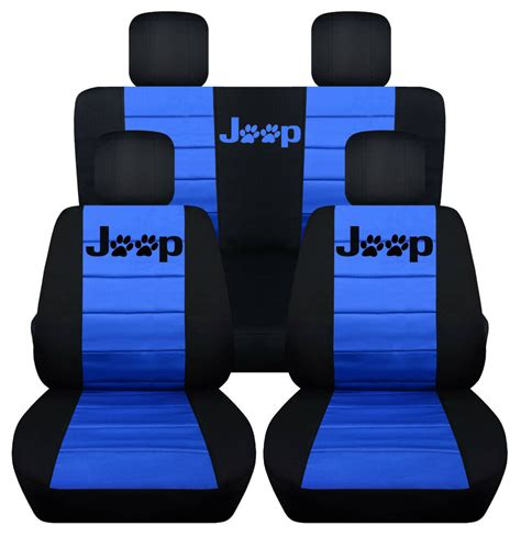 frontrear black med blue seat covers paw prints door