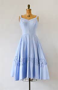 vintage 1950s sky blue cotton sundress with soutache ...