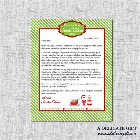 personalized letter  santa printable