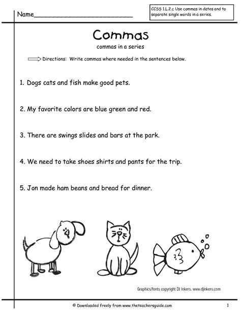 grammar worksheets commas in a series grade free