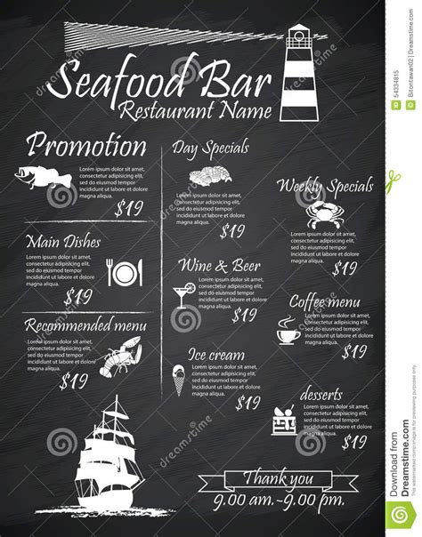 Signes De Restaurants De Fruits De Mer De Menu Affiches