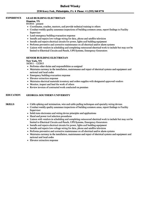 Resume Building by Building Electrician Resume Sles Velvet