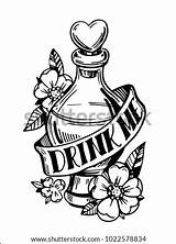Bottle Drink Potion Tattoo Coloring Drawn Sketch Shutterstock Template sketch template