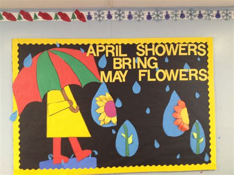 april showers bring may flowers bulletin board ideas my april board inspired by an project posted april