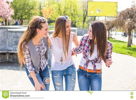 Teen Girls Enjoy Friendship Young Happy Teenagers Having