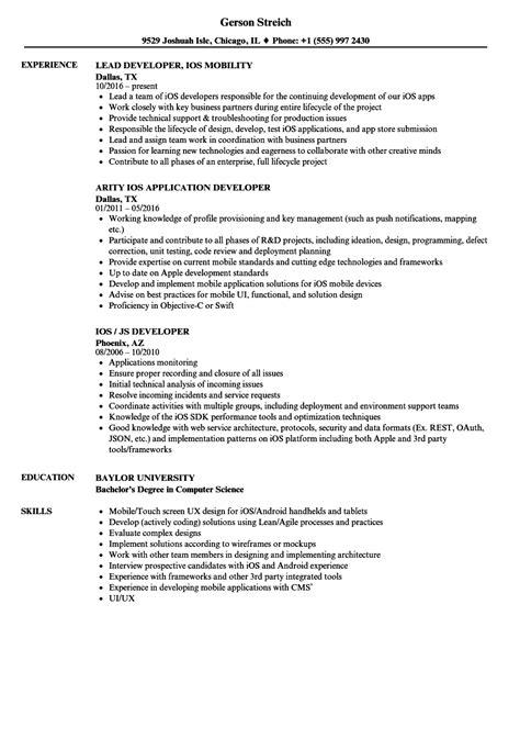Ios Developer Resume by Developer Ios Resume Sles Velvet