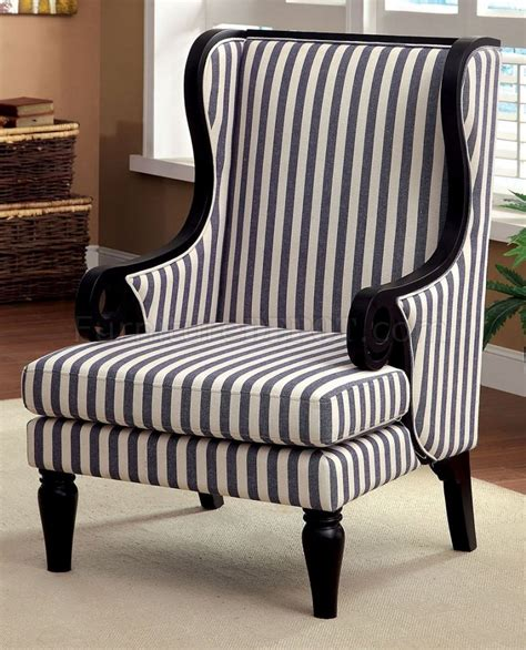 cm ac6802 accent chair in white blue stripes fabric