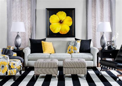 Black And Yellow Living Room  Contemporary  Living Room