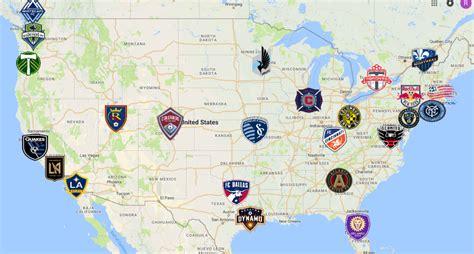 mls map teams logos sport league maps maps