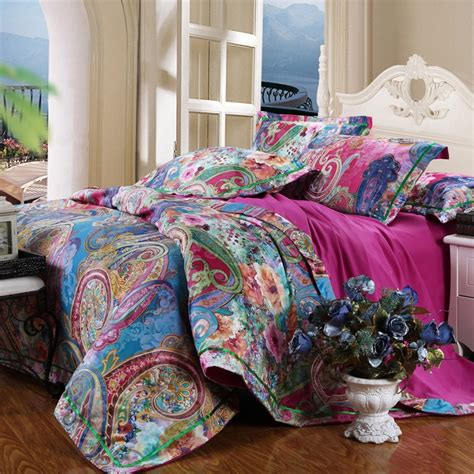 colorful bohemian bedding colorful and bohemian garden images peony blossom and western paisley pop print cotton satin