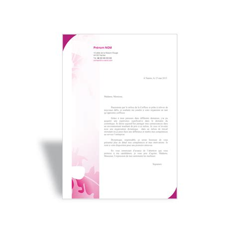 lettre de motivation apprentie coiffeuse cv word