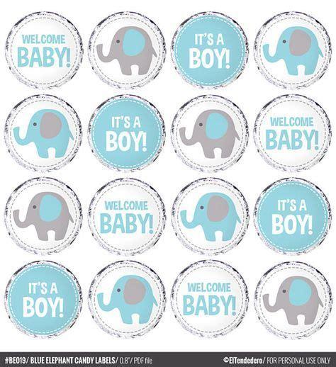 etiquetas caramelos elefante ciculos elefante azul