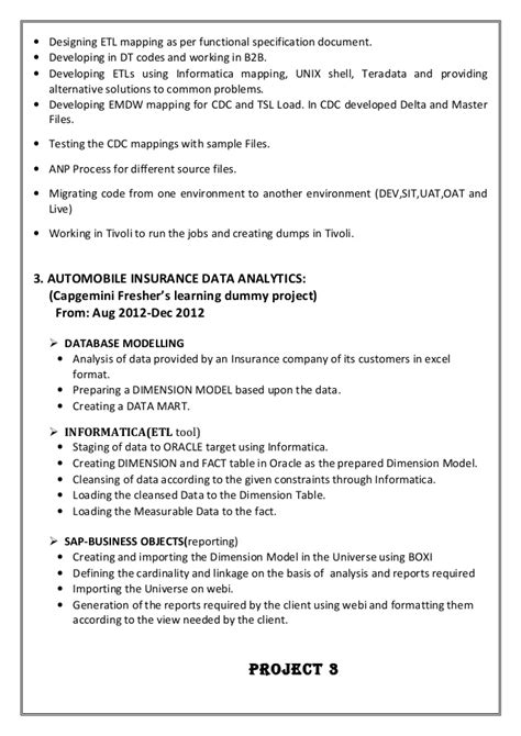 Teradata Etl Developer Resume by Resume