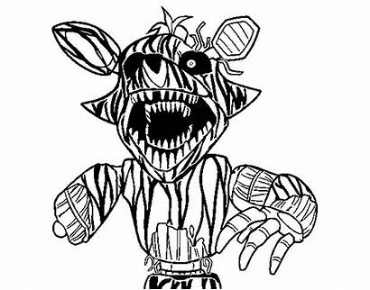 Freddy Nights Coloring Foxy Five Pages Para