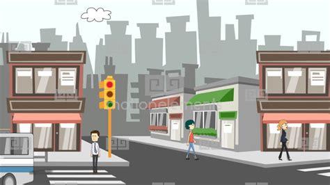 Cartoon City Streets Scene Stock Animation