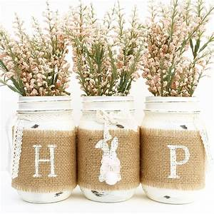 HOP Mason Jar Set Spring Mason Jars Easter Bunny Country