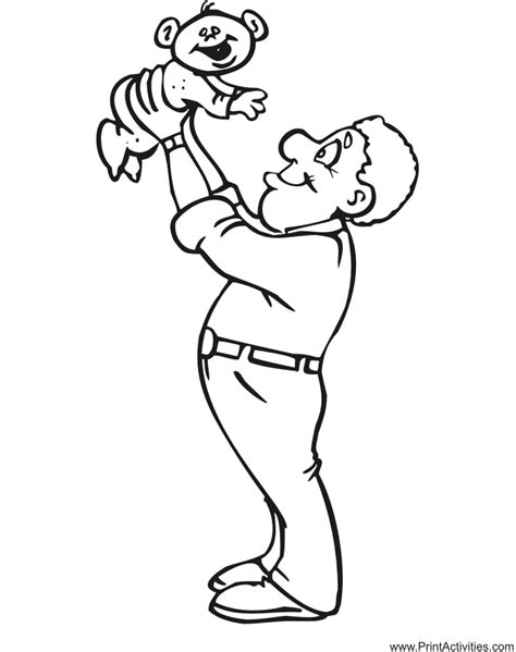 fathers day coloring page father lifting baby  air