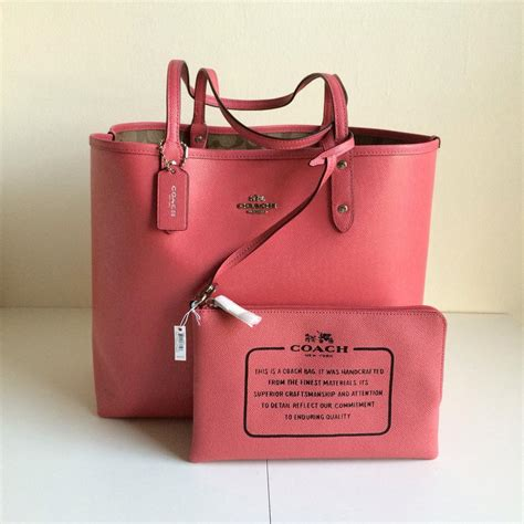 coach  signature city reversible khaki strawberry pink tote bag  sale   totes