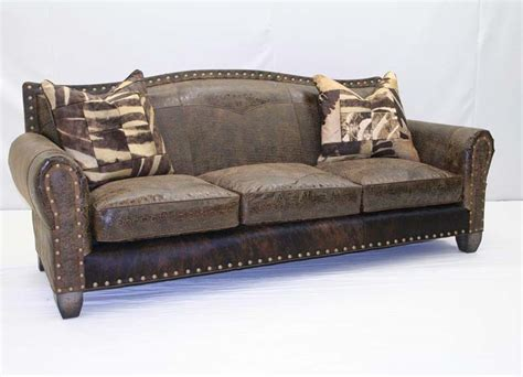 rustic leather combo sofa western sofas and loveseats