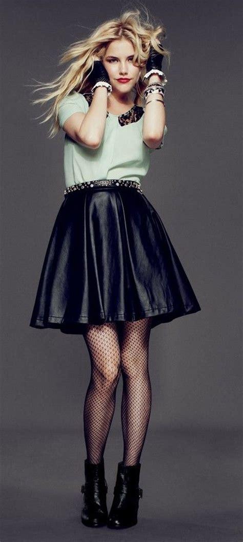 Mint Top u0026 Black Leather Skater Skirt   Cute Skirt u0026 Dress Outfits   Pinterest   Leather Mint ...