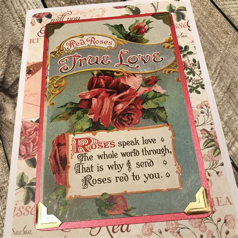 Red Roses True Love card, a handmade pretty vintage ...