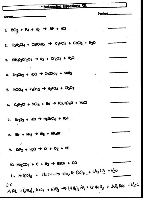 chemistry word equations worksheet answers worksheets for